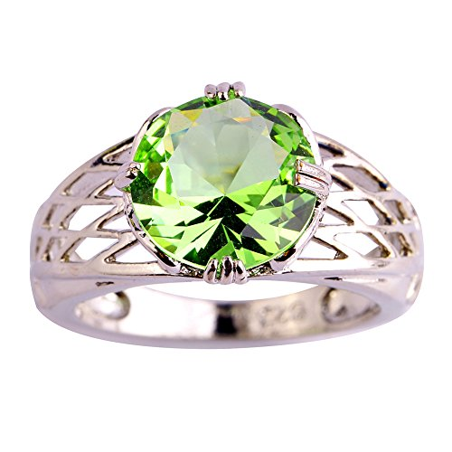 Comfort Fit Cathedral Solitaire (Psiroy 925 Sterling Silver Stunning Created Gorgeous Women's Green Amethyst Round Cut Filled)