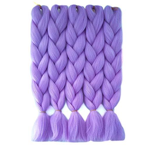 Light Purple Hair Extensions (HiDoLa Braiding Hair Light purple Colored Hair Extensions for Braids Kanekalon Jumbo Hair 5pcs/Lot 24 Inch Synthetic Hair for Crochet Box Braids Twist Braiding Hair (C3,Light)