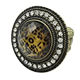 Animal Print Round Dome with Rhinestones Large Stretch Cocktail Ring (Brown Leopard Print Gold Tone)