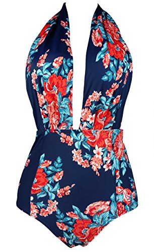 COCOSHIP Red Pink & Navy Blue Antigua Floral Retro One Piece Backless Bather Swimsuit Pin Up Swimwear Maillot XL(FBA) (Blue Stripe High Chairs)