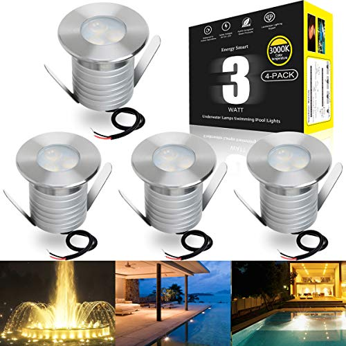 LED Swimming Pool Underwater Lights, 3W Outdoor In-ground Lights for Pools Ponds Waterfall Fountains, IP68 Waterproof, Low Voltage DC 12-24V, Pack of 4 Lights and Embedded Parts (3000K)