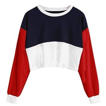 Teens Girls Crop Top Round Neck Sweatshirt Long Sleeve Color Matching Short Top  Blouse (Red