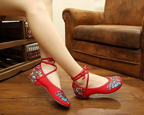 WXT Zapatos bordados, lencería, estilo étnico, hembrashoes, moda, cómodo red.