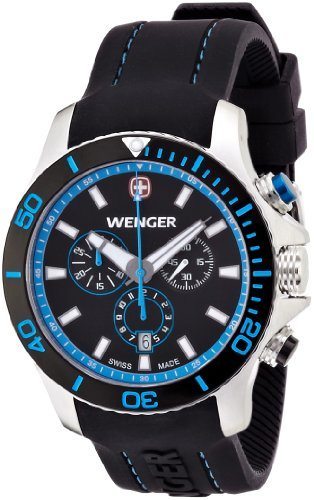 Wenger Sea Force Chrono Men's Quartz Watch with Black Dial Analogue Display and Black Silicone Strap 010643103
