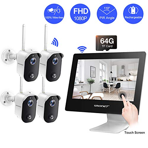 【100% Wire-Free】Wireless Battery Camera System,SMONET 4CH 1080P All-in-One 9″ Touched LCD Monitor&4pcs 2MP Outdoor Battery Powered Cameras,2-Way Audio,Motion Detection for Home Camera System,Free APP