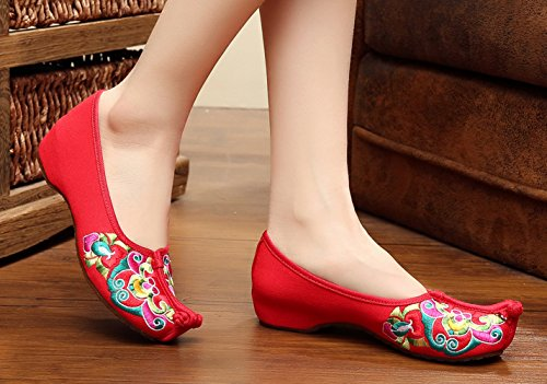 Walking Red Women Wedge AvaCostume Casual Embroidery Opera Chinese Shoes vYwHqa