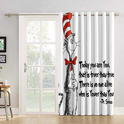 Red Vow Window Treatment Curtain 84 Inch Length - Chic Window Drapes Panel for Living Room Bedroom - Freehand The Cat in The Hat Dr. Seuss Patterned Polyester Fabric Draperies