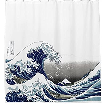 ZiChuangD Vintage Great Wave Hokusai Shower Curtain
