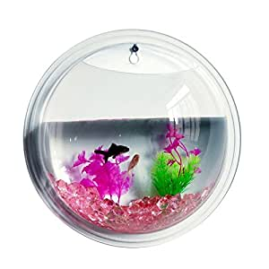 Abill transparent wall mounted decor aquarium for Fish bowl amazon