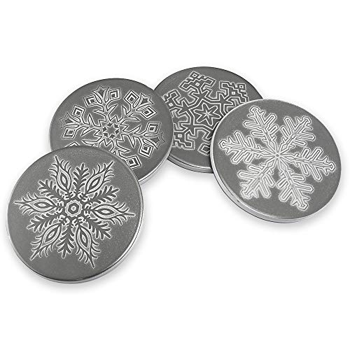 Questech TILE810083001 Snowflake Set of 4 | Holiday Decorations Dinner Party Tabletop Drink Coasters, 3.85 inches, Polished ()