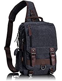b4f6cbe3bafe Retro Messenger Bag Canvas Shoulder Backpack Travel Rucksack Sling Bag