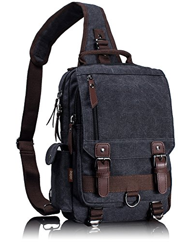 Leaper Canvas Message Sling Bag Outdoor Cross Body Bag Messenger Shoulder Bag (Large,Black)