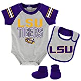 Outerstuff NCAA LSU Tigers Children Boys Blitz Onesie, Bib & Bootie Set, 12 Months, Heather Grey
