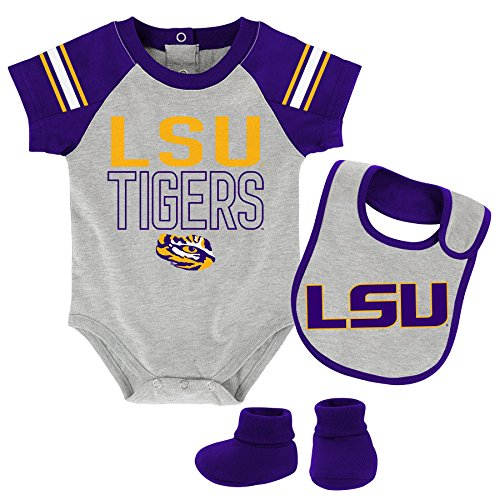 NCAA LSU Tigers Children Boys Blitz Onesie, Bib & Bootie Set, 24 Months, Heather Grey by NCAA by Outerstuff