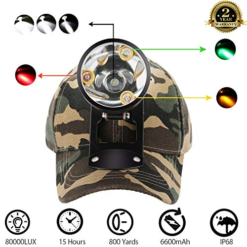 Rechargeable Headlamp-Red&Green Light For Coon,Hog,Coyote,Predator Hunting/Amber Light For Bowfishing/Powerful White Light For Mining,Hiking,Camping/Included Constructed Bracket Cap&Instruction Manual