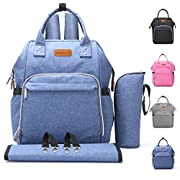 Diaper Bag Baby Backpack with Changing Pad, Insulated Cooler Pocket for Bottle Storage, Stroller Straps, by Pantheon, Best Bags for Girl or Boy, Mom or Dad (Blue)
