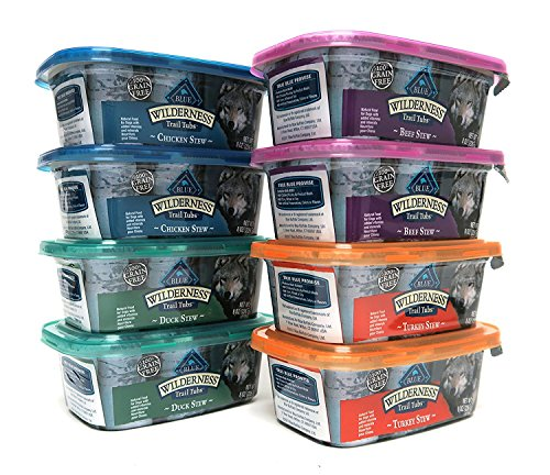 Blue Buffalo Wilderness Grain-Free Trail Tubs Stew Variety Pack, 4 Flavors (Chicken, Duck, Beef, and Turkey), 8 Ounces Each (8 Total Tubs) (Food Blue Buffalo Wet Puppy)