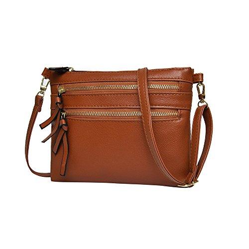 ZOMUSAR Women Girl Fashion Solid PU Leather Flap Bag Pretty Litchi Pattern Zipper Closure Crossbody Shoulder Bag