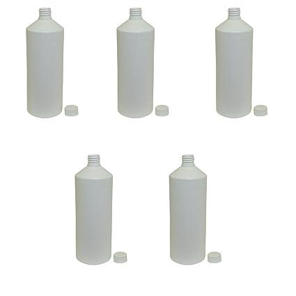 1 L litros botella de plástico líquido blanco cilíndrico para agua zumo de grado de alimentos