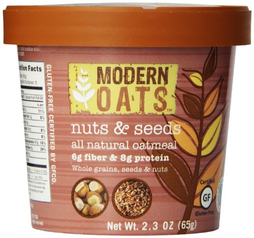 Modern Oats Nuts and Seeds Oatmeal 2.3 Ounce (Pack of 12), Gluten Free, Non-GMO, Whole Grain, Vegan, and Kosher, Contains Tree Nuts