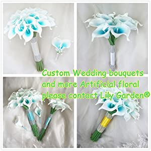 Lily Garden Artificial Wedding Floral Set Turquoise and White Calla Lily with Silver Ribbon and Bling 6