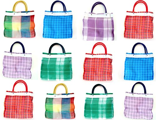 Shopimundo Mini Mexican Mercado Favor Bags for Candies (12 PACK). Mexican Mercado Bags Small for Mexican Party Favors.