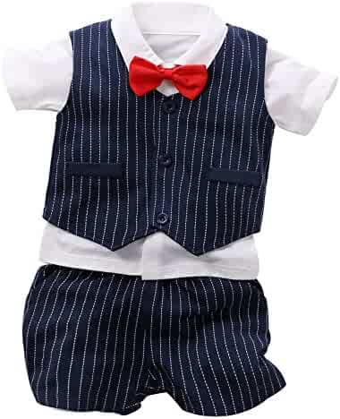7e1a396ae77 Fairy Baby Summer Baby Boy Gentleman Outfit Formal Short Sleeve Bowtie Tuxedo  Dress Suit