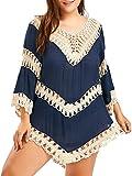 Fendxxxl Women's Crochet Cover up Plus Size Swimsuit Bathing Suit Boho Tops F25 Blue