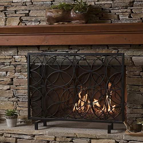 暖炉ガード 錬鉄の暖炉スクリーン - 背の高い1メートル赤ちゃんのペットのための単一のパネル暖炉火災ガード家庭の台所の安全火災サラウンド、 (Color : Black)