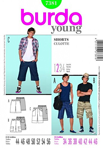 Burda Young Pattern 7381 Men#039s Casual Summer Shorts Size 34  46