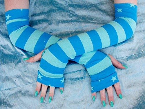 Girls Aqua Blue Stripes Arm warmers fingerless gloves