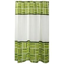 Carnation Home Fashions Caroline Fabric Shower Curtain, Green