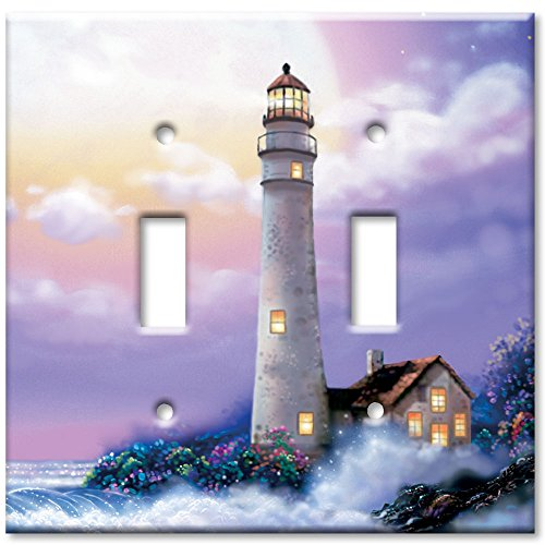 Double Gang Toggle Wall Plate - Lighthouse of (Lighthouse Switchplate Cover)