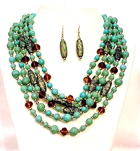 Furlabs Faux Turquoise Faceted Topaz Crystal Beads Multi Strand Necklace Set Silver
