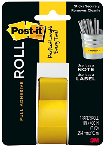 Post-it Full Adhesive Roll, 1 in x 400 in, Yellow, 1-Pack (2650-Y) - Yellow Labeling Tape