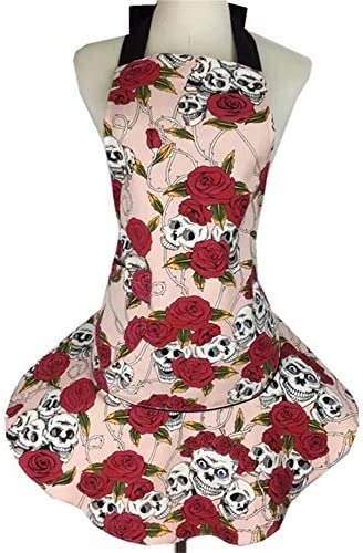 qees delantal rosas cráneo de la mujer falda delantal Retro ...