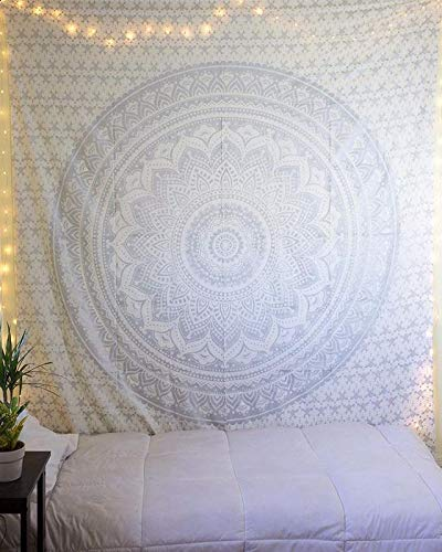Amazoncom The Art Box White And Silver Wall Tapestry Twin Mandala