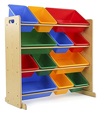 Tot Tutors Kids' Toy Storage Organizer with 12 Plastic Bins, Natural/Primary (Primary Collection) - Old Wood Furniture