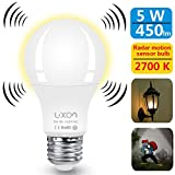 led light 5w - Motion Sensor Light Bulb 5W Smart Bulb Radar Dusk to Dawn LED Motion Sensor Light Bulbs E26 Base Indoor Sensor Night Lights Soft White 2700K Outdoor Motion Sensor Bulb Auto On/Off by Luxon