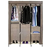 Pagacat Portable Wardrobe Closet, Fabric Clothes Armoire Storage Organizer with Rod and Shelves[US Stock] (2-Coffee)