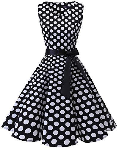 Neck Audrey Hepburn 1950s Vintage Cocktail Rockabilly Swing Dress Black White Dot L ()