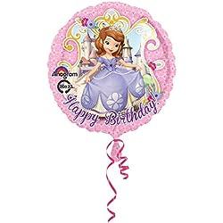 Amscan - Globo redondo de aluminio diseño Disney La Princesa Sofia texto Happy Birthday