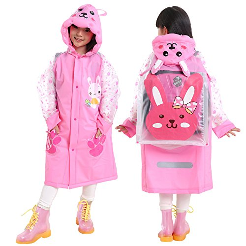 LINFON Girls Raincoat Suit for Age 6-13 Years Children Waterproof Hooded Cartoon Raincoat for Outdoor Camping ()
