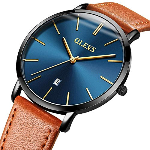 Ultra Thin Men's Watch Genuine Leather Strap Simple Mens Watch Waterproof with Calendar Japan Movement Analog Quartz Watch for Men Fashion Blue/White/Black Big Dial Business Casual Wrist Watches -