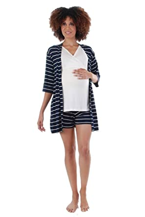 5441203e327de Adalia 5-Pc Nursing PJ Short Set with Gift Bag - XL - Navy Stripe at ...
