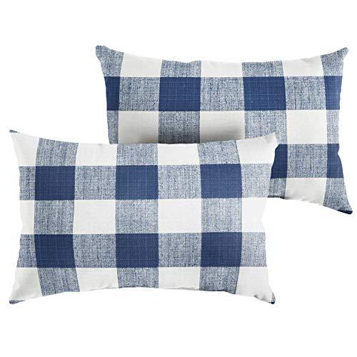 Premier Prints Dark Blue Buffalo Plaid 12 x 18 Knife Edge Decorative Indoor Outdoor Rectangle Lumbar Pillows, Perfect for Patio D cor – Dark Blue Buffalo Plaid Set of 2