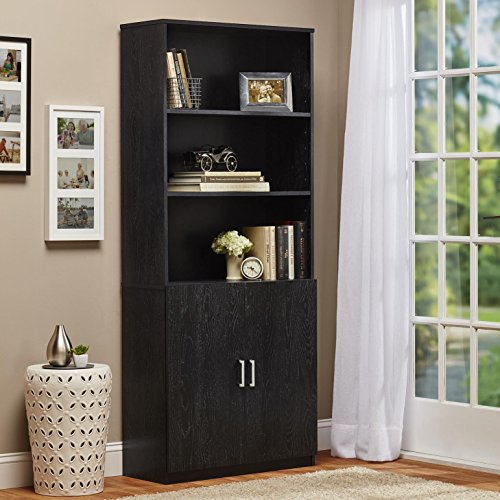 """Seraphina Standard Bookcase with 3 Open Shelves,2 Adjustable and 2 Cabinet Doors Made of Manufactured Wood with Laminate in Black Ebony Ash 70.63""""H x 29.69""""W x 12.38""""D in."""