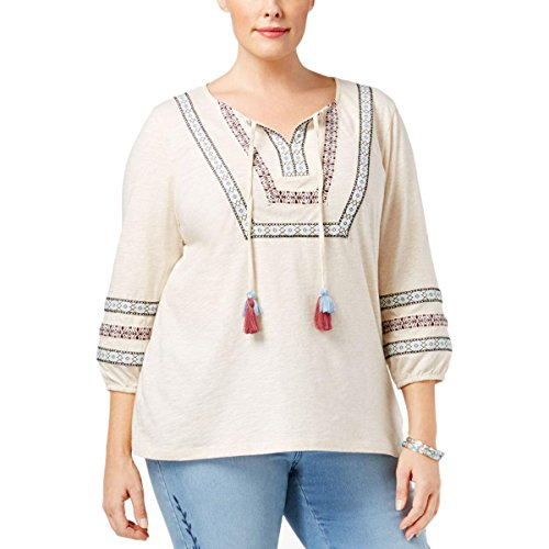 Style & Co. Womens Plus Heathered Embroidered Peasant Top Beige 1X from Style & Co.