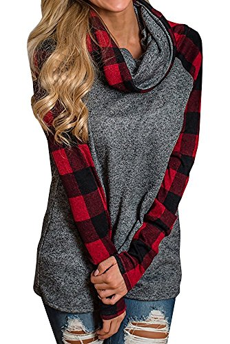 Plaid Cowl Neck (Umeko Womens Tunic Tops Plaid Raglan Shirts Oversized Cowl Neck Long Sleeve Sweatshirt Pullover (XX-Large, Red))
