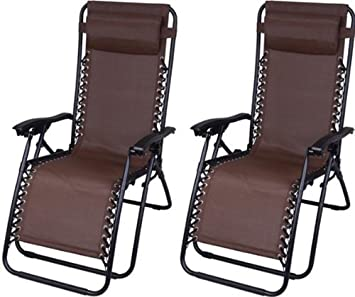 Outsunny Zero Gravity Recliner Lounge Patio Pool Chair – 2 Pack – Brown